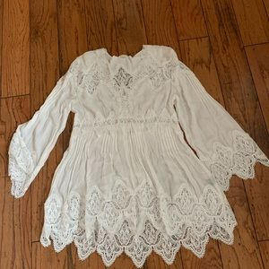 Never worn white lacy long sleeve blouse
